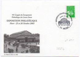 France N° 3458b (n° Noir) Y. Et T. Deux Sèvres Niort Cachet Commémoratif Du 25 Et 26/10/2003 - Marcophilie (Lettres)