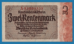 DEUTSCHES REICH 2 Rentenmark  30.01.1937# A.89993535 P# 174b8 Digit Serial # - Sonstige