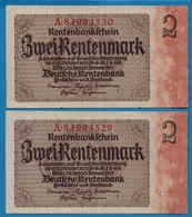 DEUTSCHES REICH 2 X 2 Rentenmark  30.01.1937 # A.89993529+30 P# 174bNo Consécutifs - Otros