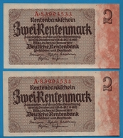 DEUTSCHES REICH 2 X 2 Rentenmark  30.01.1937 # A.89993533+34 P# 174bNo Consécutifs - Sonstige