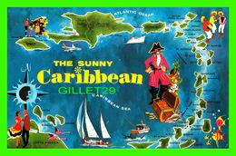 MAP, CARTE GÉOGRAPHIQUE - THE SUNNY CARIBBEAN -  TRAVEL -  DEXTER PRESS INC - - Cartes Géographiques