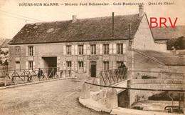 Photo: Tours-sur-Marne: Maison Just Schosseler, Café, Quai Du Canal, Photo D'une Ancienne Carte Postale, 2 Scans - Lieux