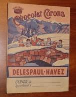 PROTÈGE CAHIER - Chocolat DELESPAUL HAVEZ CORONA - Années 50 - 18x24 - Bon état D'usage : Voir Photos - 07 - Protège-cahiers