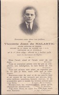 FAIRE PART DE DECES,Vicomte Jean De MALARTIC, Ancien Officier De Marine,Croix De Guerre T.O.E, Chevalier De St STANISLAS - Décès