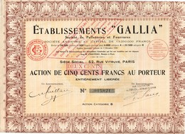 """Titre Ancien - Etablissements """"Gallia"""" - Société De Pelleteries Et Fourrures - Société Anonyme - Titre De 1929 - Textile"""