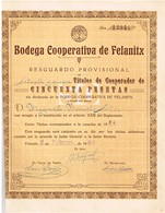 Titre Ancien  - Bodega Cooperativa De Felnitx  - Titulo De 1967 - Tourisme