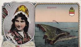 AK Helgoland - Luftbild - Mädchen In Tracht - Grün Ist Das Land - Feldpost Helgoland 1918  (49524) - Helgoland