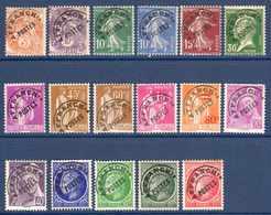 1922/32 France Préoblitérés Sans Gomme N°39,43,51/3,66,70/2,74,76,78,81**,87/90   2 €  (cote 26,15 € 17 Valeurs) - Préoblitérés