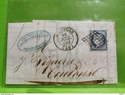 Lettre, Timbre Cérès Et Cache Granville 1851 - 1849-1850 Ceres