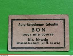 Luxembourg, Bon, Auto-Aerodrome Enfantin, Nic. Schweig. Mondorf-les-bains. Carton - Entriegelungschips Und Medaillen