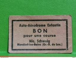Luxembourg, Bon, Auto-Aerodrome Enfantin, Nic. Schweig. Mondorf-les-bains. Carton - Gettoni E Medaglie