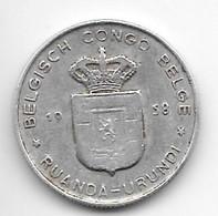 Belgium Congo 1 Franc  1958   Km 4   Vf - Congo (Belga) & Ruanda-Urundi