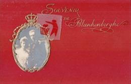 """Souvenir De BLANKENBERGHE - En Médaillon """"Le Roi Albert Iér Et Son épouse"""" Carte Colorée - Blankenberge"""