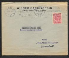Austria - 1921 Cover Wien To Hannover - Wiener Bank Perfin Stamp - 1918-1945 1ra República