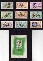 1962 Hungary Football (Soccer) FIFA World Cup Chile'62 Full Set Of 9 And Mini Sheet MNH - Fußball-Weltmeisterschaft