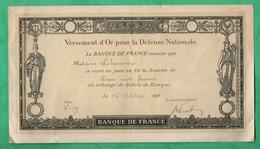 1916 Guerre 14/18 Versement D'or Pour La Defense Nationale Lot De 2 (format 14,3cm X 25,5cm Et 12,5cm X 21,5cm) - Banque & Assurance