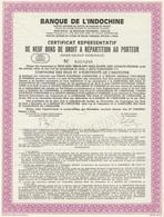 Indochine - Cie Des Eaux Et D'électricité De L'Indochine - Certificat Représentatif De 9 Bons - Asie