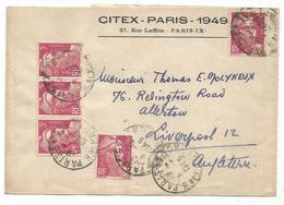 GANDON 3FR LILAS X5 BANDE COMPLETE PARIS 1949 POUR ANGLETERRE TARIF 3EME RARE - 1945-54 Marianne Of Gandon