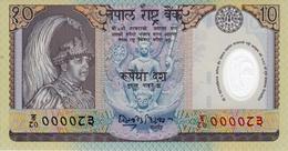 NEPAL 2002 Rupees-10 FANCY Polymer BANKNOTE Serial № 83 Pick #45 UNC - Nepal