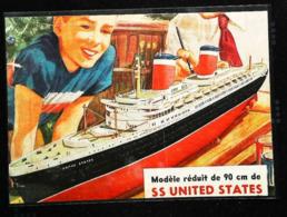 """Modèle Réduit Paquebot Américain S/S  Liner """"UNITED STATES""""   - Coupure De Presse Italienne  (encadré Photo) De 1953 - Bâteaux"""