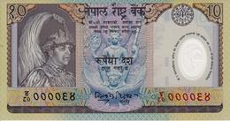 NEPAL 2002 Rupees-10 FANCY Polymer BANKNOTE Serial 94 Pick #45 UNC - Nepal