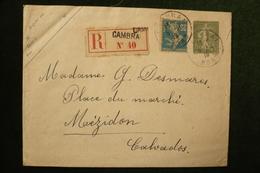 Entier Enveloppe 15c Lignée B19 Recommandée Cambrai 5/11/19 Date 936 Au Dos - Entiers Postaux