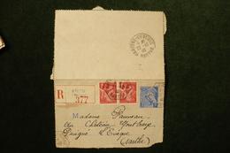 Entier CL Mercure Recommandée Avec Iris Brette Les Pins Sarthe 21/10/1940 - Marcophilie (Lettres)