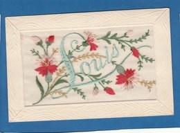CARTE BRODEE DE FLEURS AVEC LE NON DE LOUIS - Embroidered