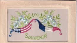 Carte Brodée Souvenir Drapeaux France  USA - Bestickt