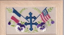Carte Brodée Souvenir Drapeaux France  USA Croix De Lorraine - Bestickt