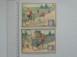 NANTES  CHROMO Biscuits DUCASSE & GUIBAL: BICYCLETTE Humour Vélo Chute Chien Lot 2 Différents Même Série - Autres