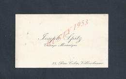 CDV CARTE DE VISITE DE SPITZ JOSEPH TISSAGE À VILLEURBANNE : - Visiting Cards
