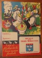 PROTÈGE CAHIER - Huile Des TROIS MERLETTES - Années 50 - 18x24 - Etat D'usage (pliure Verticale) : Voir Photos - 23 - Protège-cahiers