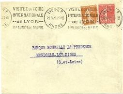 RHONE - Dépt N° 69 = LYON RP 1929 = FLAMME  KRAG  'VISITEZ  FOIRE INTERNATIONALE / 1er LUNDI  MARS ' - Oblitérations Mécaniques (flammes)