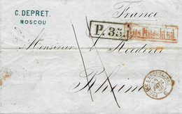 1860- Letter From Moscou To Rheims ( France )  P.35  Rating 11 D. Entrance PRUSSE A ERQUELINES - C  Red - Marcophilie (Lettres)