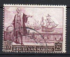 1952 San Marino - Nascita Colombo 25 Cent N. 380 Timbrato Used - Gebruikt