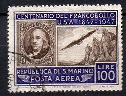 1947 San Marino Fran. Stati Uniti 100 Lire A 75 Timbrato Used - Luchtpost