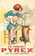 Belle Publicité Pour Le Biberon Pyrex, Illustrée Par Poulbot, Femme Et Bébé, Salamandre à Charbon... - Publicité