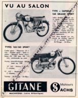 """ANCIENNE PUBLICITÉ (1960) : MOTOS GITANE, TYPE """"IMPERIA"""" 164 GRAND SPORT, TYPES 162-163 SPORT, MOTEURS SACHS, MACHECOUL - Reclame"""