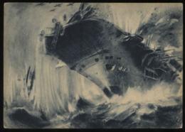 WW II Postkarte Militär Luftwaffe: Deutsche Flieger über Englands Flotte ,Flugzeuträger Von Bombe Getroffen,ungebrauch - Oorlog 1939-45