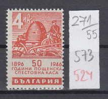 55K271 / 573 Bulgaria 1946 Michel Nr. 524 - Honeybee, Masonic Symbol , BEE , Cycling Cyclisme , Postal Savings ** MNH - Honeybees
