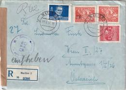 YOUGOSLAVIE 1947 LETTRE RECOMMANDEE CENSUREE DE MAARIBOR AVEC CACHET ARRIVEE WIEN - 1945-1992 Socialist Federal Republic Of Yugoslavia