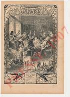 Presse 1907 Couronne Galette Des Rois Mois De Janvier Gastronomique Corbeaux Volant Des Galettes Chien Lévrier 223CH30 - Vieux Papiers