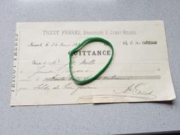 Jumet Heigne Tricot Frères   Brasserie Brasseur Quittance 1882 - Zonder Classificatie