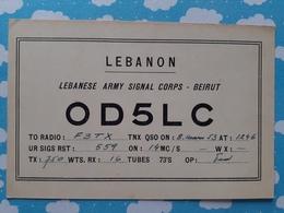 CARTE QSL RADIO AMATEUR  LEBANON LIBAN BEYROUTH   ANNEES 50 60 - Ansichtskarten