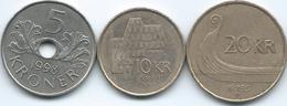 Norway - Harald V - 5 Kroner - 1998 - KM463; 1995 - 10 Kroner - KM457 & 20 Kroner - KM453 - Norway
