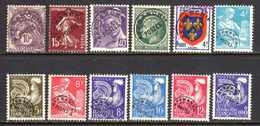1922/60 France Préoblitérés Sans Gomme N°43,53,81,89,105/11,119      0,60 €  (cote 6,20 €  12 Valeurs) - Préoblitérés