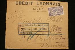 Perfin Merson 3fr Violet N°206 Perforé CL Seul Lettre R Vers Allemagne 1928 Chambre Commerce Lille Credit Lyonnais - France