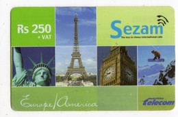MAURICE PREPAYEE SEZAM 250 RS Date 2005 Tour Eiffel, Statue De La Liberte, Big Ben - Mauritius