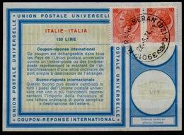 ITALIA / ITALIE / ITALY Vi19 120 LIRE + 2x 10 LIRE SYRACUSA Int. Reply Coupon Reponse Antwortschein IAS IRC o MERAN - Entero Postal